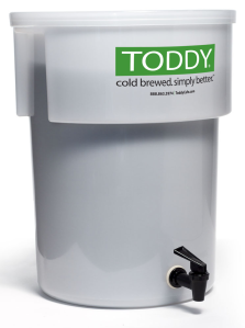 The Toddy Cold Brew system allows the coffee to steep like a teabag inside the bucket.
